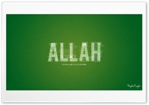 Allah Typographic HD Wide Wallpaper for Widescreen