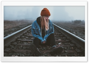 Alone Girl, Silent, Railroad HD Wide Wallpaper for 4K UHD Widescreen desktop & smartphone