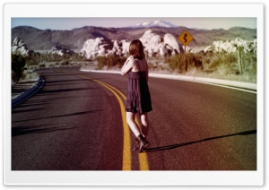 Alone on the road...... HD Wide Wallpaper for Widescreen