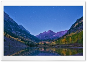 Alpenglow At Dawn, Maroon Bells And Maroon Lake, Colorado HD Wide Wallpaper for 4K UHD Widescreen desktop & smartphone