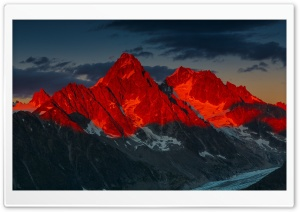 Alpenglow over the Argentiere Glacier, France HD Wide Wallpaper for Widescreen