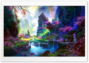 Amazing Springtime Landscape Artwork HD Wide Wallpaper for Widescreen