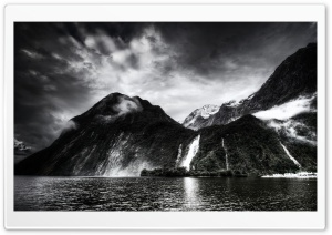 Amazing Waterfall, Monochrome HD Wide Wallpaper for Widescreen