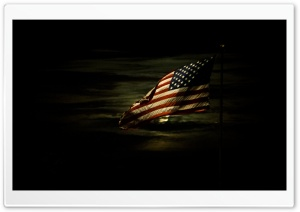 American Flag Lit By A Full Moon HD Wide Wallpaper for Widescreen