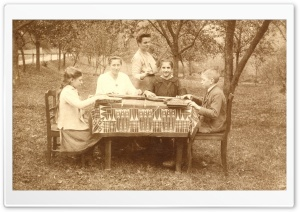 An Outdoor Zither Lesson 1917 HD Wide Wallpaper for Widescreen