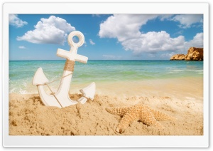 Anchor On The Beach HD Wide Wallpaper for Widescreen