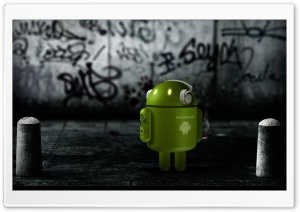 Android Robot Listening To Music HD Wide Wallpaper for 4K UHD Widescreen desktop & smartphone