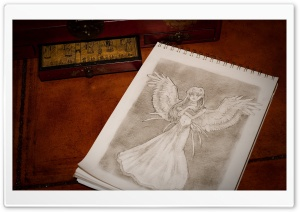 Angel Sketch HD Wide Wallpaper for Widescreen