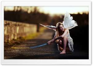 Angel With Sword HD Wide Wallpaper for Widescreen