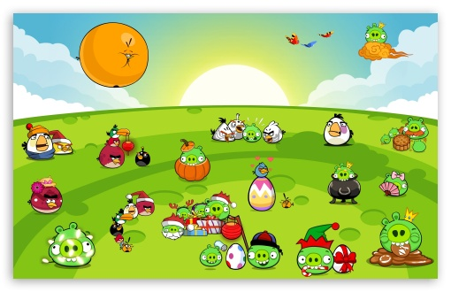 Angry Birds New Party HD wallpaper for Wide 16:10 5:3 Widescreen WHXGA WQXGA WUXGA WXGA WGA ; iPad 1/2/Mini ; Mobile 4:3 5:3 - UXGA XGA SVGA WGA ;
