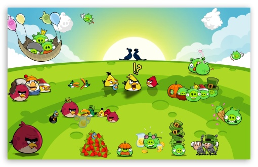 Download Angry Birds Party UltraHD Wallpaper