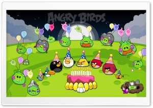 Angry Birds Party Night & End Pigs HD Wide Wallpaper for Widescreen