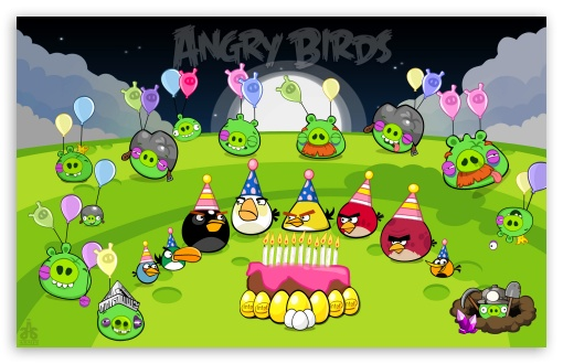 Angry Birds Party Night & End Pigs HD wallpaper for Wide 16:10 Widescreen WHXGA WQXGA WUXGA WXGA ;