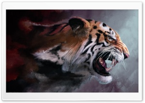 Angry Tiger Painting HD Wide Wallpaper for Widescreen