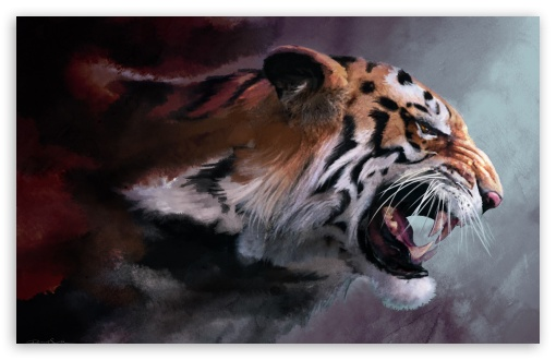 Angry Tiger Painting HD wallpaper for Wide 16:10 5:3 Widescreen WHXGA WQXGA WUXGA WXGA WGA ; HD 16:9 High Definition WQHD QWXGA 1080p 900p 720p QHD nHD ; Standard 4:3 5:4 3:2 Fullscreen UXGA XGA SVGA QSXGA SXGA DVGA HVGA HQVGA devices ( Apple PowerBook G4 iPhone 4 3G 3GS iPod Touch ) ; iPad 1/2/Mini ; Mobile 4:3 5:3 3:2 16:9 5:4 - UXGA XGA SVGA WGA DVGA HVGA HQVGA devices ( Apple PowerBook G4 iPhone 4 3G 3GS iPod Touch ) WQHD QWXGA 1080p 900p 720p QHD nHD QSXGA SXGA ;