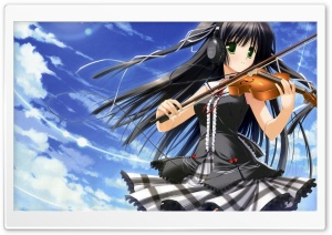 Anime Girl Playing Violin HD Wide Wallpaper for 4K UHD Widescreen desktop & smartphone