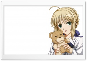 Anime Girl With A Lion Toy HD Wide Wallpaper for Widescreen