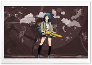 Anime Girl With Chainsaw HD Wide Wallpaper for Widescreen