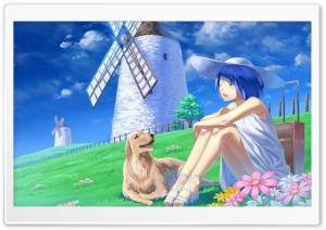 Anime Girl With Her Pet Dog HD Wide Wallpaper for 4K UHD Widescreen desktop & smartphone