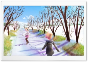 Anime Winter Scene HD Wide Wallpaper for Widescreen