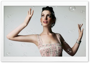 Anne Hathaway And Bubbles HD Wide Wallpaper for 4K UHD Widescreen desktop & smartphone