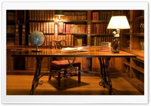Antique Library Desk HD Wide Wallpaper for Widescreen