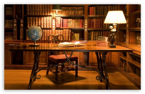 Download Antique Library Desk HD Wallpaper