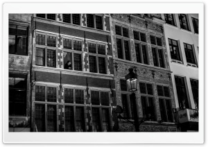 Antwerp City Buildings Black And White HD Wide Wallpaper for Widescreen