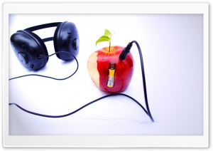 Apple And Headphones HD Wide Wallpaper for Widescreen