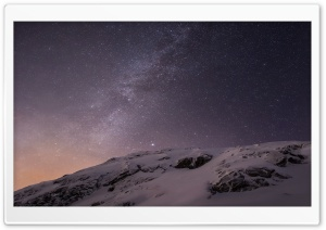Apple iOS Mountains and Galaxy HD Wide Wallpaper for Widescreen