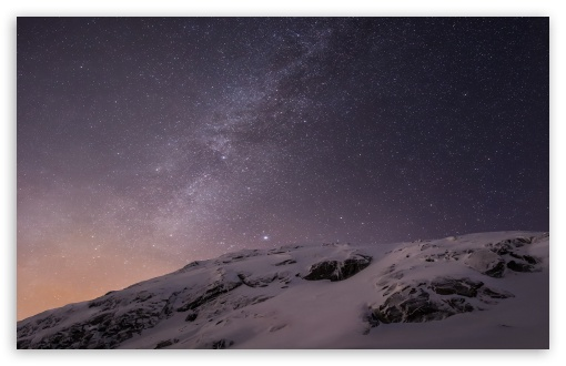 Apple IOS Mountains And Galaxy 4K HD Desktop Wallpaper For