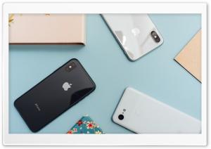Apple iPhones Smartphones Flat Lay HD Wide Wallpaper for 4K UHD Widescreen desktop & smartphone