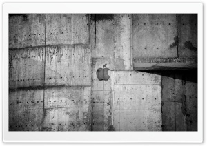 Apple Logo Concrete Wall HD Wide Wallpaper for Widescreen
