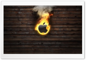 Apple Logo On Fire HD Wide Wallpaper for Widescreen