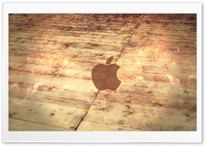 Apple Logo Wood Floor HD Wide Wallpaper for Widescreen