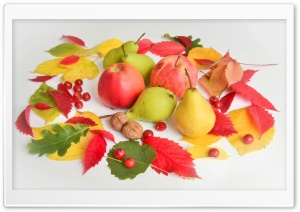Apples, Pears, Fruits, Autumn Leaves Ultra HD Wallpaper for 4K UHD Widescreen desktop, tablet & smartphone