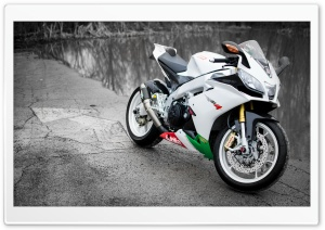 Aprilia RSV4 White Motorcycle HD Wide Wallpaper for Widescreen
