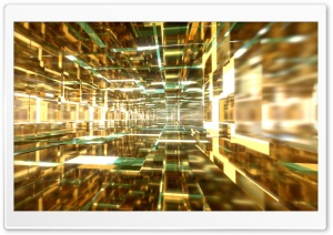 Aqua and Gold Tunnels HD Wide Wallpaper for Widescreen