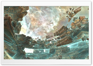 Aqua Space Shipyard - 3D Fractal Art HD Wide Wallpaper for Widescreen