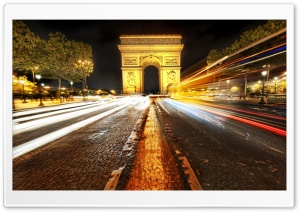 Arc de Triomphe At Night HD Wide Wallpaper for Widescreen