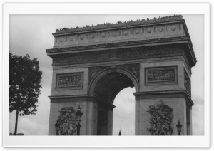 Arc De Triomphe Black And White HD Wide Wallpaper for Widescreen