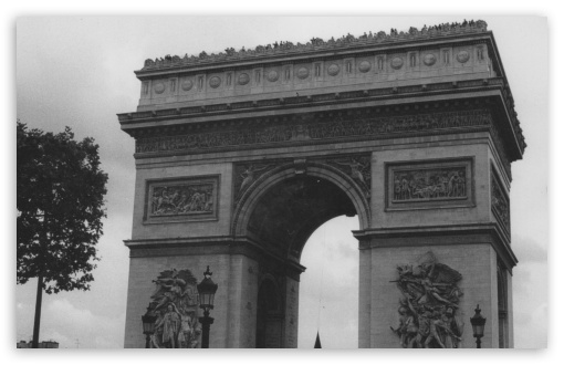 Arc De Triomphe Black And White HD wallpaper for Wide 16:10 5:3 Widescreen WHXGA WQXGA WUXGA WXGA WGA ; HD 16:9 High Definition WQHD QWXGA 1080p 900p 720p QHD nHD ; Standard 5:4 3:2 Fullscreen QSXGA SXGA DVGA HVGA HQVGA devices ( Apple PowerBook G4 iPhone 4 3G 3GS iPod Touch ) ; Mobile 5:3 3:2 16:9 5:4 - WGA DVGA HVGA HQVGA devices ( Apple PowerBook G4 iPhone 4 3G 3GS iPod Touch ) WQHD QWXGA 1080p 900p 720p QHD nHD QSXGA SXGA ;
