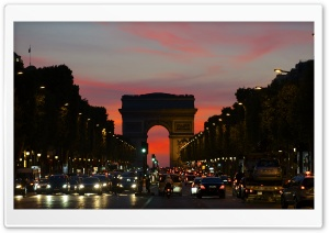 Arc De Triomphe Boulevard HD Wide Wallpaper for Widescreen