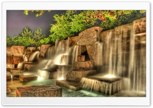 Artificial Waterfall HDR HD Wide Wallpaper for Widescreen