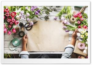 Artist and Flowers HD Wide Wallpaper for 4K UHD Widescreen desktop & smartphone