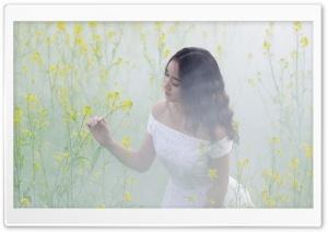 Asian Female in White Dress, Flowers, Mist HD Wide Wallpaper for 4K UHD Widescreen desktop & smartphone
