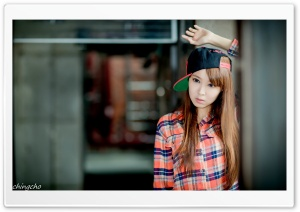 Asian Girl, Checkered Shirt and Cap HD Wide Wallpaper for Widescreen