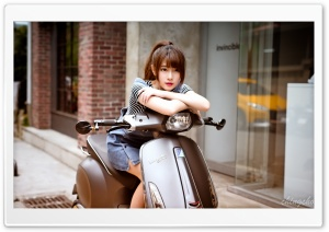 Asian Girl, Scooter HD Wide Wallpaper for 4K UHD Widescreen desktop & smartphone