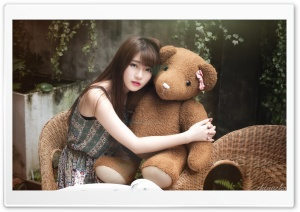 Asian Girl, Teddy Bear HD Wide Wallpaper for 4K UHD Widescreen desktop & smartphone