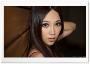 Asian Girl with Big Beautiful Eyes HD Wide Wallpaper for Widescreen